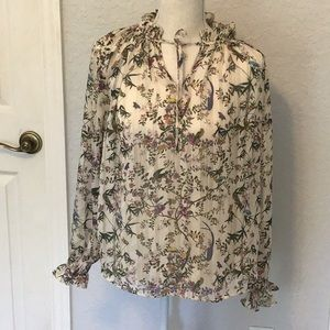 H&M floral and bird sheer blouse